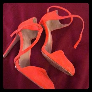 Zara bright red/orange heels with ankle wrap strap